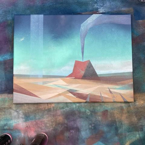 Spray paint on canvas painting of a small volcanic cone spewing smoke