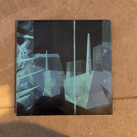 Spray paint painting of an industrial landscape