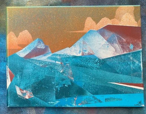 Spray paint painting of Mt. Audubon from Brainard Lake
