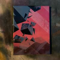 Spray paint on canvas painting of disintegrating shapes