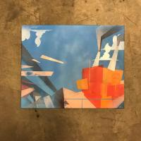 Spray paint painting of disintegration at the factory