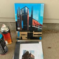 Spray paint painting of a factory