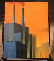 Spray paint painting of a power plant at dusk