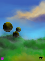 "digital painting of ""Man on Horse and Spheres in Distance"""