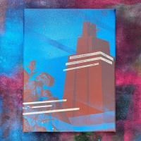 Spray paint painting of a building dreamed by the artist