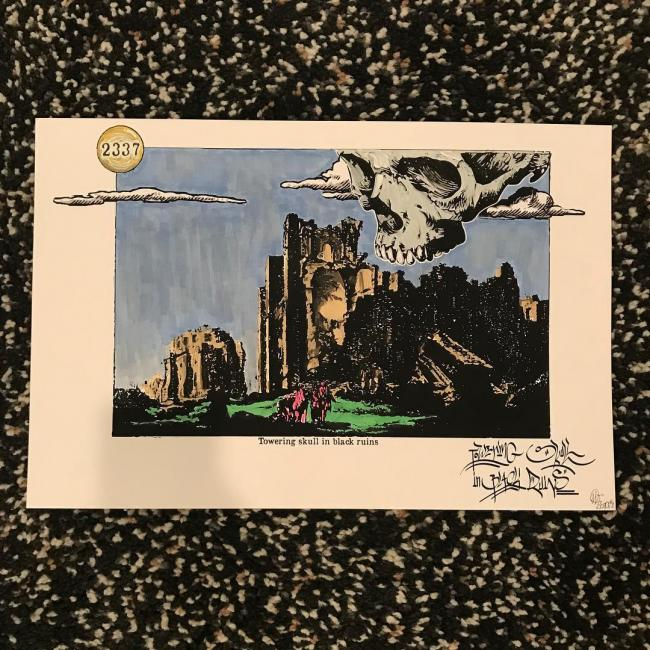 "Hand-colored print of ""Towering Skull in Black Ruins"""
